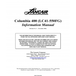 Lancair Columbia 400 (LC41-550FG) Information Manual $19.95