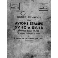 Avions Stampe SV-4C et SV-4B Notice Technique $6.95
