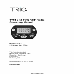 Trig TY91 and TY92 VHF Radio Operating Manual 00840-00-AD