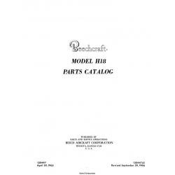 Beechcraft Model H18 Parts Catalog P/N 130447 A1 Rev. 1966 $29.95
