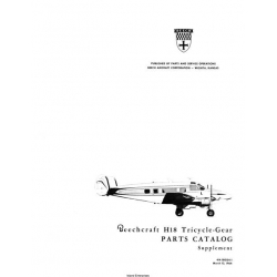 Beechcraft H18 Tricyle-Gear Parts Catalog Supplement $29.95