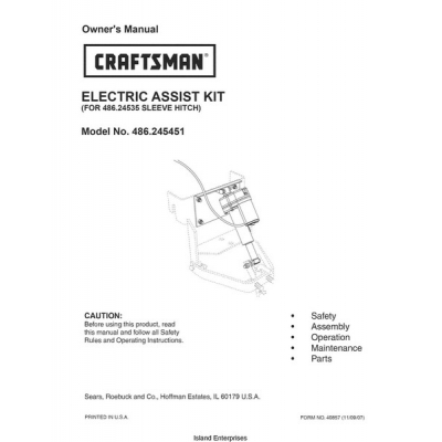 Sears Craftsman 486 245451 Electric Assist Kit For 486