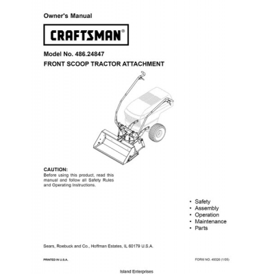 Sears Craftsman 486 24847 Front Scoop Tractor Attachment