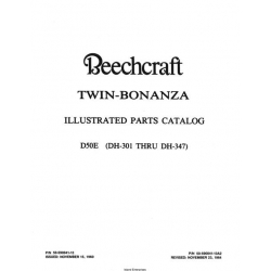 Beechcraft Twin Bonanza D50E 1960-1984 (DH-301 THRU DH-347) Parts Catalog 50-590041-13A2 $29.95