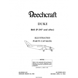Beechcraft Duke B60 (P-247 and after) Illustrated Parts Catalog Rev. 1984 60-590001-35C3 $29.95