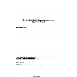 Lycoming IO-540-AG1A5 Series Engine Installation and Operation Manual 60297-45 $19.95