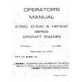 Lycoming Operator's Manual Part # 60297-10-1 O-IO-HIO 540 Series $13.95