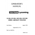 Lycoming Operator's Manual Part # 60297-16-4 O-IO-AIO-LIO-320 Series 1973-1998 $13.95