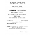 Lycoming Operator's Manual Part# 60297-16 O-IO-AIO-LIO-320 Series $13.95