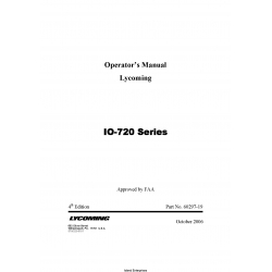 Lycoming IO-720 Series Operator's Manual 60297-19 $19.95