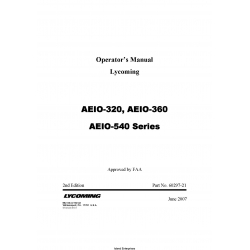 Lycoming AEIO-320, AEIO-360, AEIO-540 Series Operators Manual 60297-21 $19.95