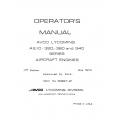 Lycoming Operator's Manual Part # 60297-21-8 AEIO-320-360-540 Series $13.95