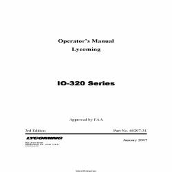 Lycoming IO-320 Series Operator's Manual 60297-31 $19.95