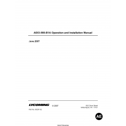 Lycoming AEIO-580-B1A Operation and Installation Manual 60297-32 $19.95