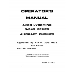 Lycoming Operator's Manual Part # 60297-3 O-340 Series $13.95