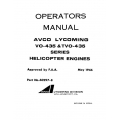 Lycoming Operator's Manual Part # 60297-8 VO & TVO-435 Series $13.95