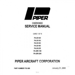 Piper PA-28 Cherokee Service Manual Part Number 753-586 _v2008 $29.95