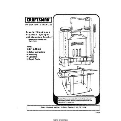 Sears Craftsman 75724525 Tractorbackpack 5 Gallon Sprayer Operator039s Manual 2002 495 P 5739