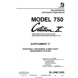 Cessna Model 750 Citation X (Airplnes 750-0173 And ON) JAA Airplane Flight Manual 75EUMA-S11-05 $2.95