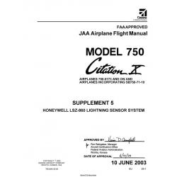Cessna Model 750 Citation X (AIRPLANES 750-0173 AND ON) JAA Airplane Flight Manual 75EUMA-S5-00 $2.95
