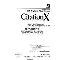 Cessna Model 750 Citation X (MODEL 750-0173 AND ON)JAA Airplane Flight Manual 75EUMA-S8-01 $2.95