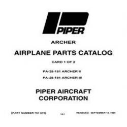 Piper Archer II & III Parts Catalog PA-28-181 $13.95 Part # 761-678_v1994