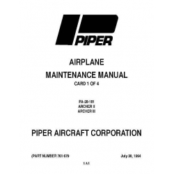 Piper Archer II & III Maintenance Manual PA-28-181 $13.95 Part # 761-679
