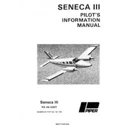 Piper Seneca III PA-34-220T Pilot's Operating Handbook Part # 761-756 $19.95