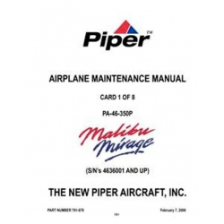Piper Malibu Mirage Maintenance Manual PA-46-350P $13.95 Part # 761-876