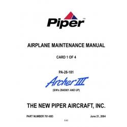 Piper Archer III Maintenance Manual PA-28-181 $13.95 Part # 761-883