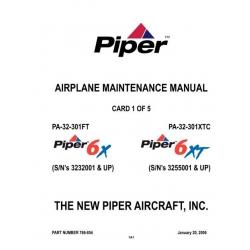 Piper 6X/6XT Maintenance Manual PA-32-301FT/XTC $13.95 Part # 766-854
