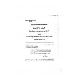Focke-Wulf 8-152 H-0 Bedienungsvorschrift-Fl Teil 1 $2.95