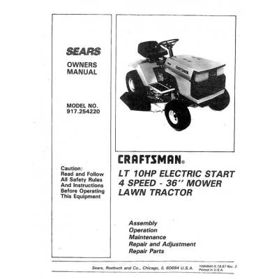 craftsman lawn mower model 917 manual