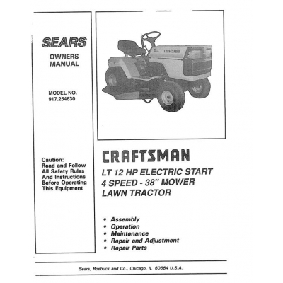Craftsman lt 1200 Owners Manual