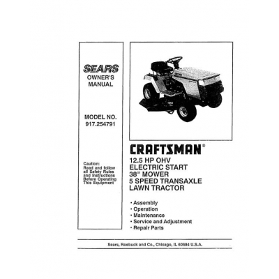 sears craftsman lawn tractor manual pdf