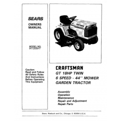 """917.255960 18.0 HP Twin Cylinder Electric Start 44"""" Mower 6 Speed Owner's Manual Garden Tractor Sears Craftsman $4.95"""