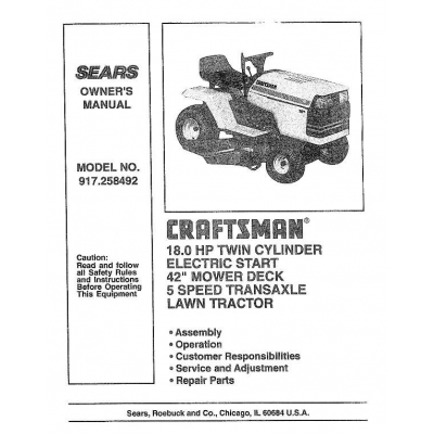 "Electric Start 42"" Mower Deck 5 Speed Transaxle Owner's Manual Lawn"