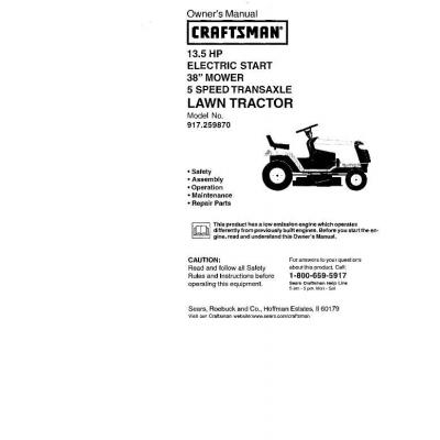 Sears Craftsman 917 259870 13 5 Hp Electric Start 38