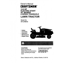 "Sears Craftsman 917.270512 14.5 HP Electric Start 42"" Mower 6 Speed Transaxle Lawn Tractor Owner's Manual $4.95"