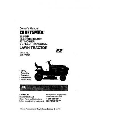 Sears Craftsman 917 270613 15 5 Hp Electric Start 42