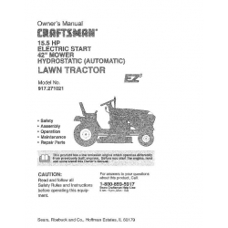 """917.271021 15.5 HP Electric Start 42"""" Mower Hydrostatic (Automatic) Lawn Tractor Sears Craftsman $4.95"""