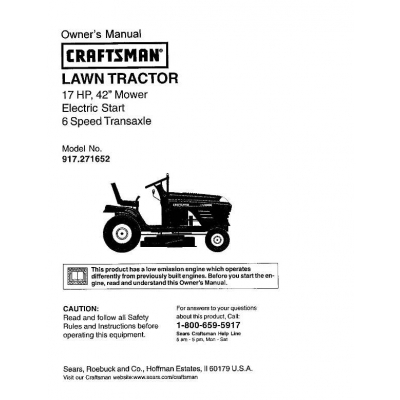"42"" Mower Electric Start 6 Speed Transaxle Lawn Tractor Owner's Manual"