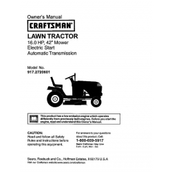 "Sears Craftsman 917.2720601 16.0 HP 42"" Mower Electric Start Automatic Transmission Lawn Tractor Owner's Manual $4.95"