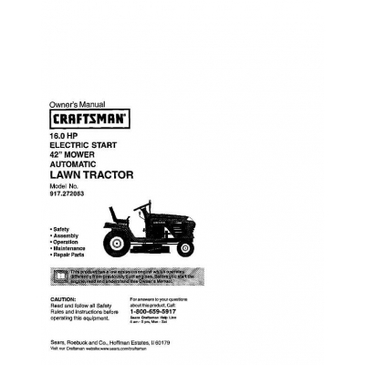 craftsman lawn tractor model 917 manual