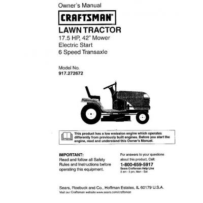 craftsman lawn tractor model 917 manual