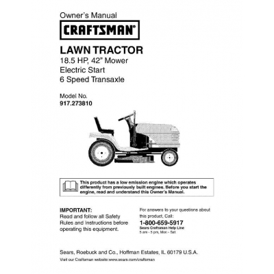 Craftsman 18 Hp Tractor manual