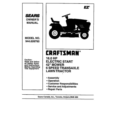 "Electric Start 42"" Mower 6 Speed Transaxle Lawn Tractor Owner's Manual"