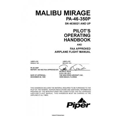 Piper PA 46 350P Malibu Mirage Pilots Operating Handbook And