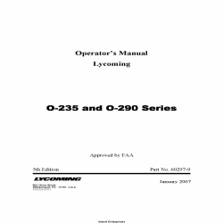 Lycoming O-235 and O-290 Series Operator's Manual Part # 60297-9 v2007 $19.95