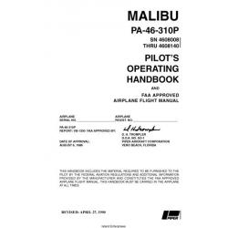 Piper PA-46-310P Malibu   Pilots Operating Handbook and Flight Manual  SN 4608008 THRU 4608140  $13.95